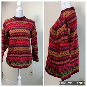 90s Benetton soft mohair fair isle folk sweater